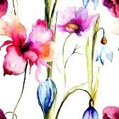 Kleurrijke zomer naadloze patroon, aquarel illustratie photo