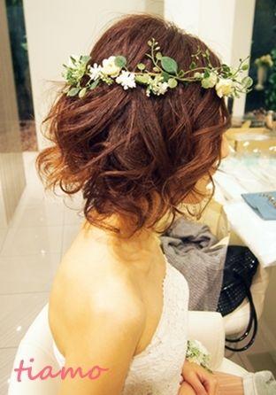 ふんわりポンパのアップ&ボブ風パーマスタイル☆リハ編 |大人可愛いブライダルヘアメイク『tiamo』の結婚カタログ