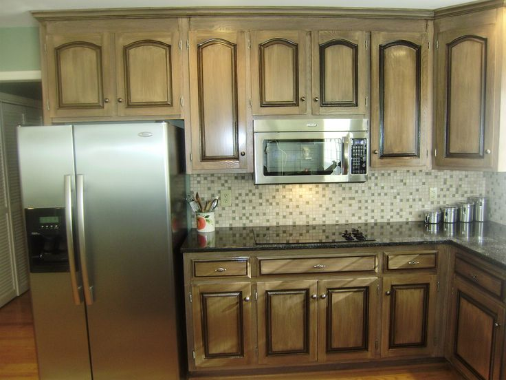 Black glaze over pickled wood hand glazed cabinets for White pickled kitchen cabinets