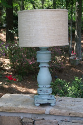 1970s wooden lamp born again. Annie Sloan chalk paint in duck egg and dark wax