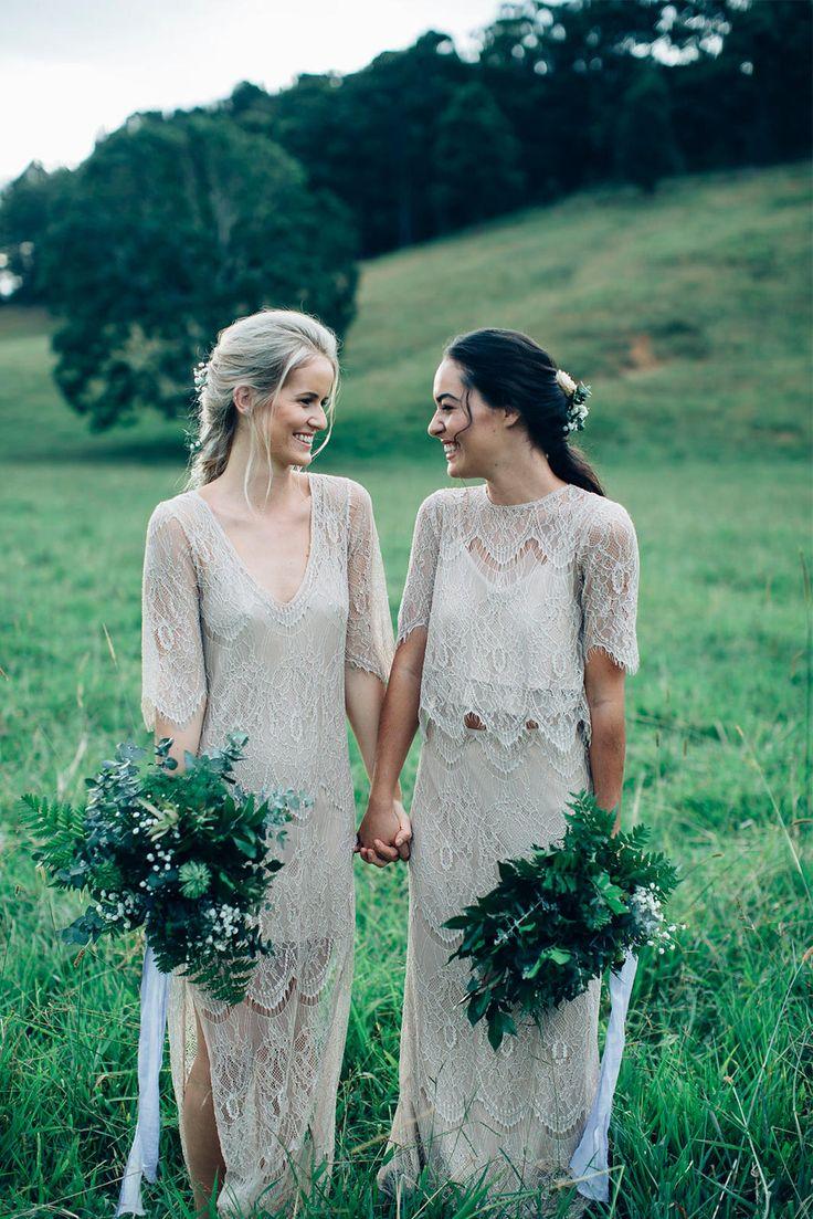 Lesbian wedding two brides light pink stock photo
