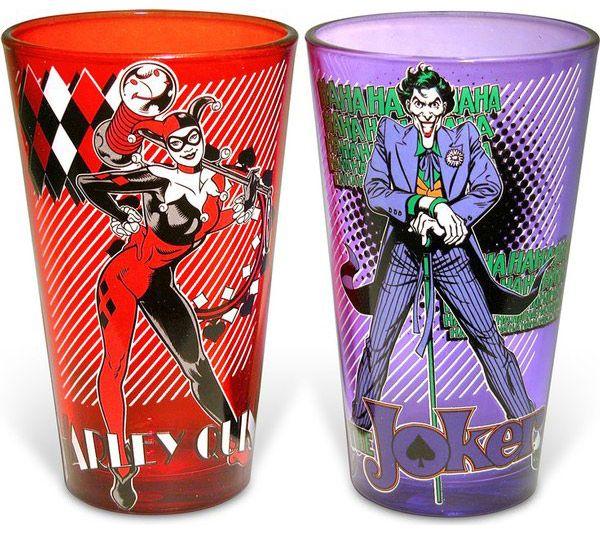Batman Joker and Harley Quinn Pint Glasses $12.99