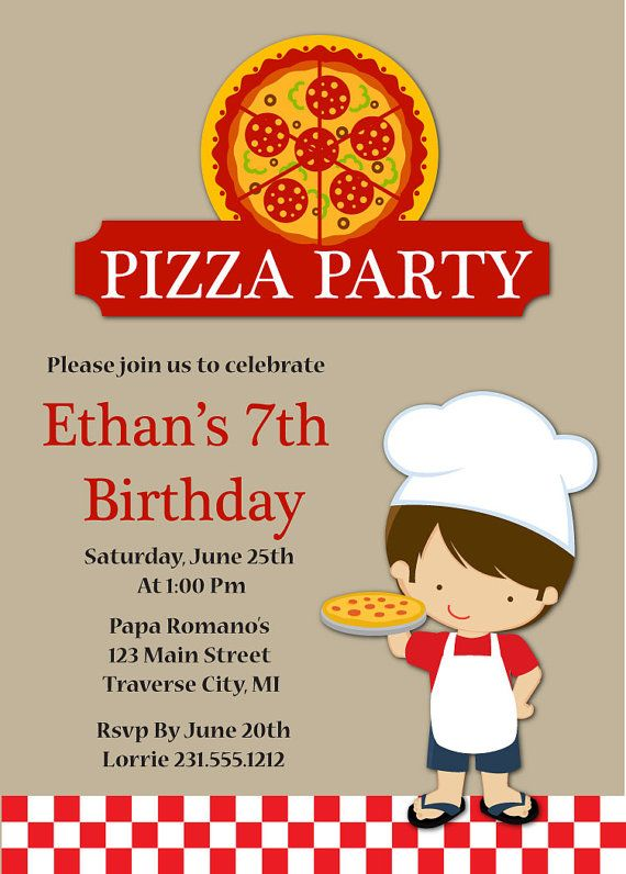 11 best Pizza Party Birthday Party images – Kids Birthday Party Invite