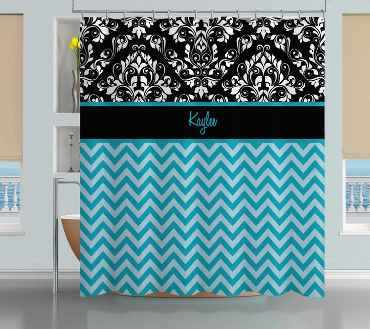 Chevron Shower Curtain, Bathroom Shower Curtains, Blue Shower Curtain, Damask Shower Curtain, Monogrammed Shower Curtain  #1 by EloquentInnovations on Etsy https://www.etsy.com/listing/171392608/chevron-shower-curtain-bathroom-shower