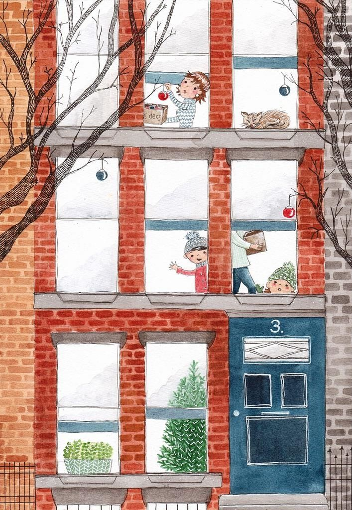 illustration houses buildings brownstones new york christmas family