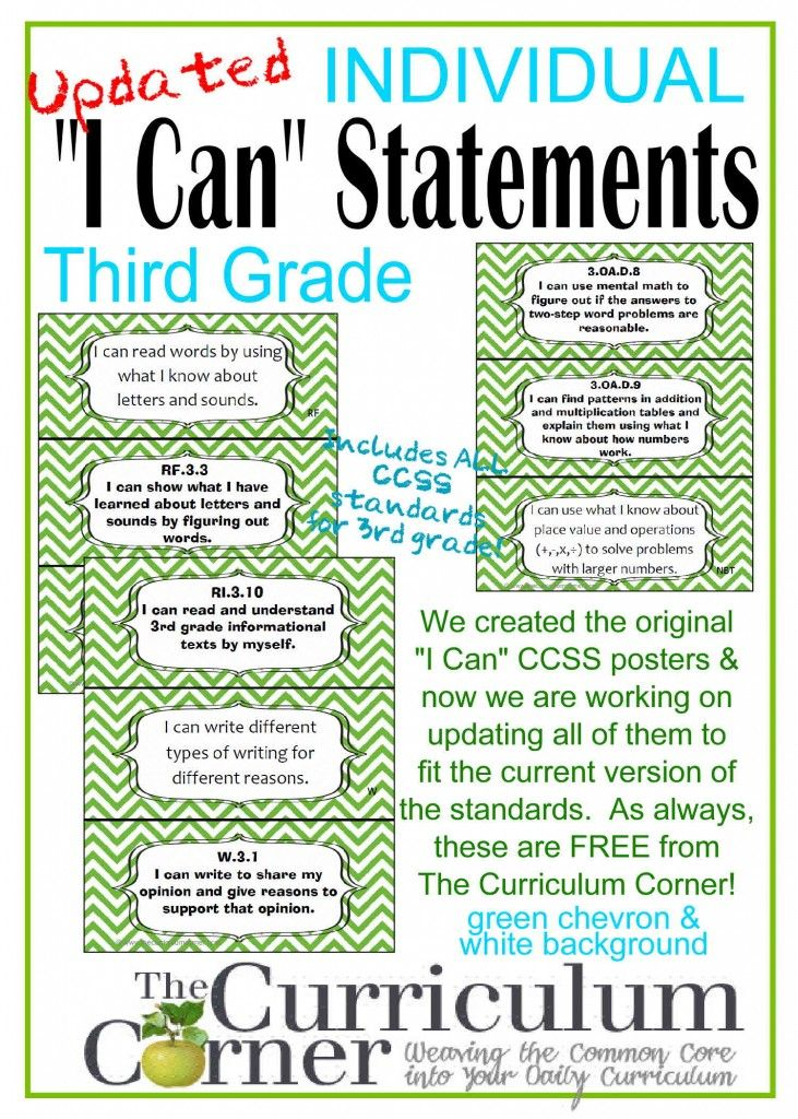 "Individual I Can Statements by The Curriculum Corner | CCSS | ""I Can"" Common Core"