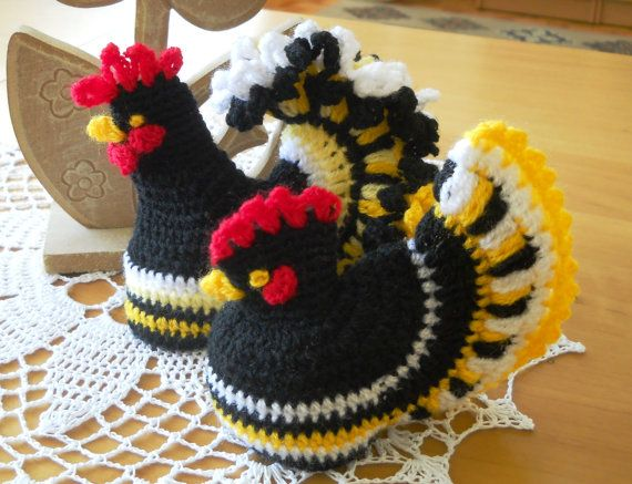 Crochet ROOSTER & HEN Egg Warmer Set, Kitchen or Table Decoration, Kids Perfect Play Gift and more