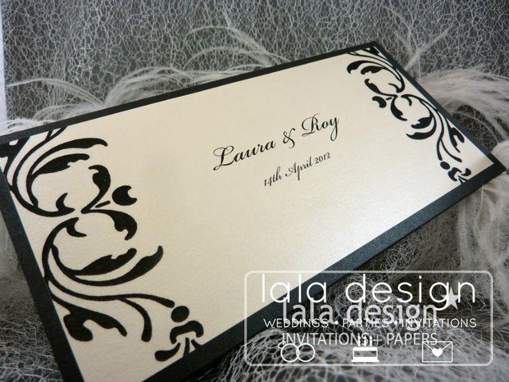 Black and cream graphic wedding invitation