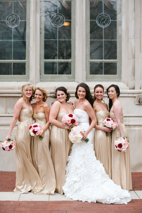 Lovely long gold dresses for the bridesmaids. Great ideas.