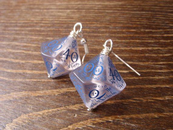 elf dice earrings elvish D100 dice see through blue by MageStudio