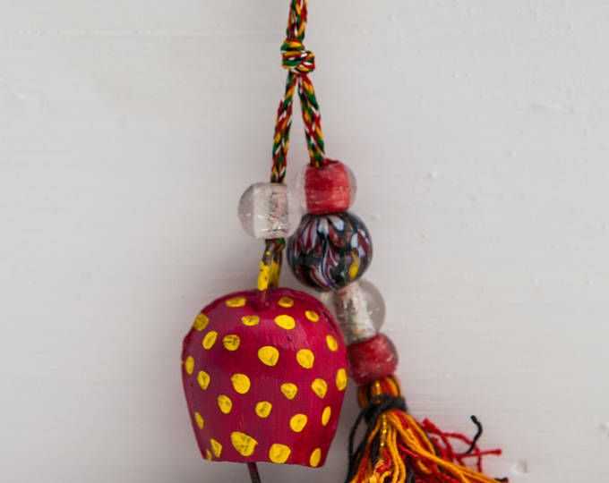 Happy Painted Bell - Key Holder