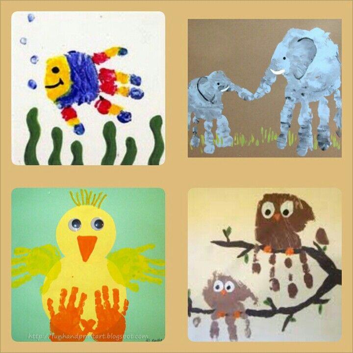 Animal handprint art / kids arts and crafts / fun to do at home/fish handprint/ duck handprints/ owl handprints/ elephant handprints/kids art