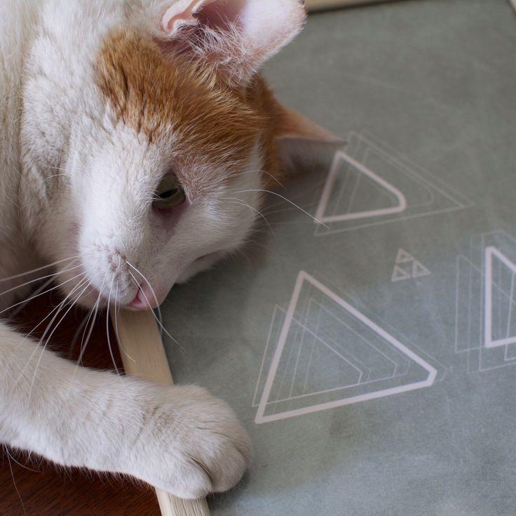 Print, poster, minimalist print, Aegean, triangles, the round button, Greece, cat.