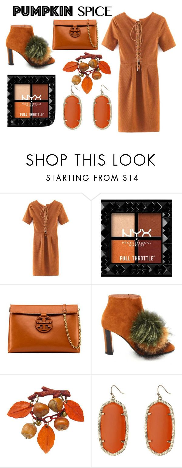 """Pumpkin Spice #1"" by bloguerosa on Polyvore featuring Tory Burch, Pollini and Kendra Scott"