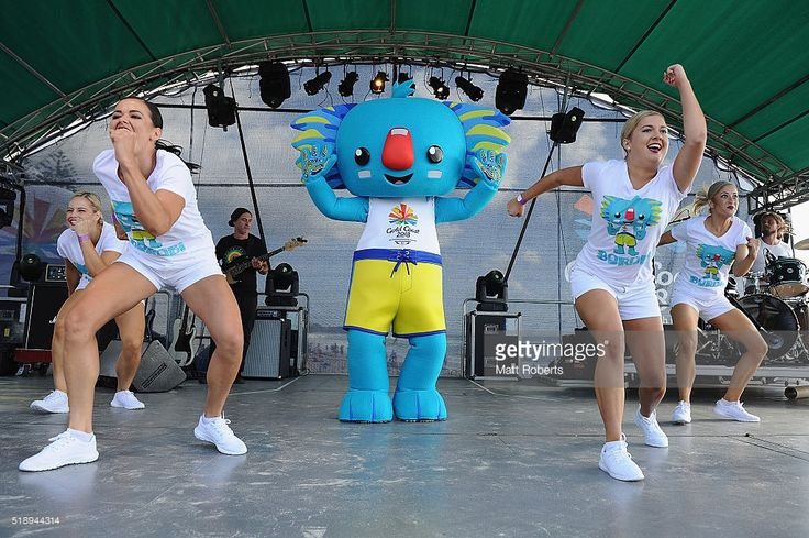 Mascot, Borobi on stage during the Official Reveal of GC2018 Mascot and Two Years to Go Celebrations at Burleigh Heads Beach on…