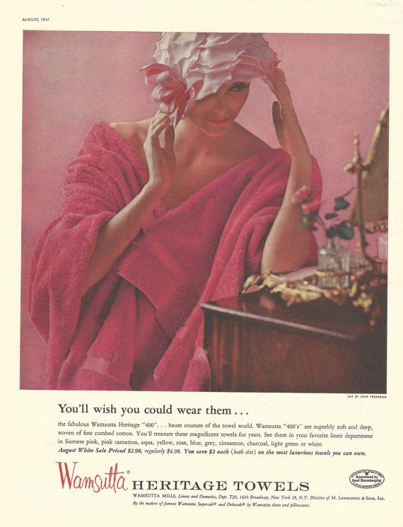 Wamsutta Towels Original 1957 Vintage Print Ad by VintageAdarama