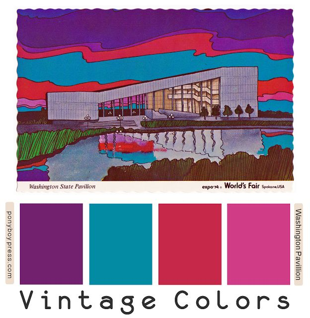 vintage color palettes - washington state pavillion world expo 1974 - ponyboy press