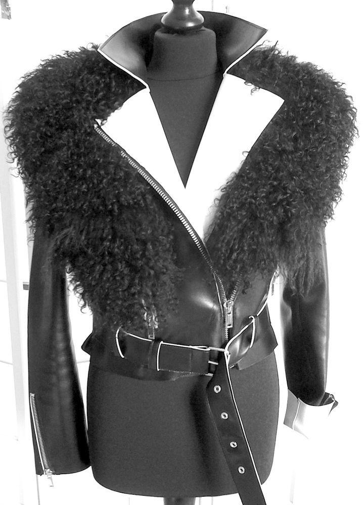 DAMEN-KUNSTLEDERJACKE schwarz/weiß, Größe 36,mit schwarzem Lammfell-Kragen in Kleidung & Accessoires, Damenmode, Jacken & Mäntel | eBay