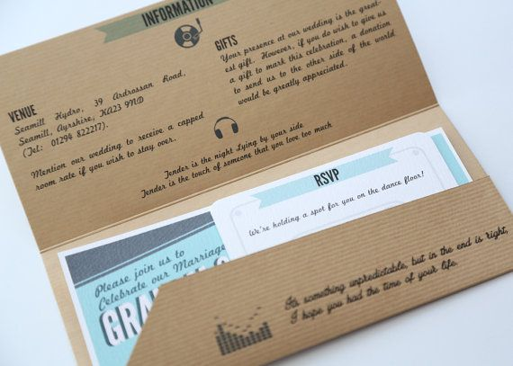 Music Lovers Concert Ticket Wedding Invitation A fantastic alternative to a wedding invitation!  Its something unpredictable, but in the end