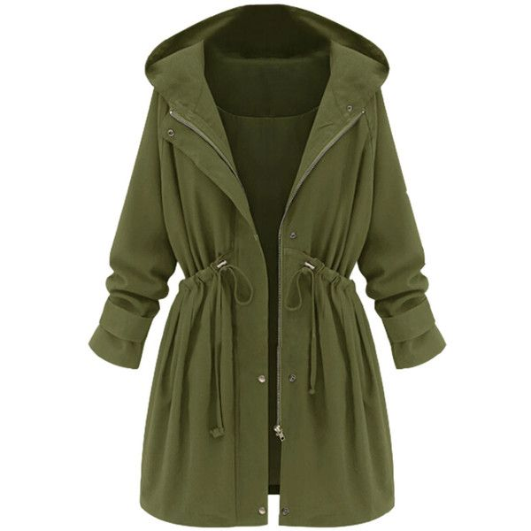 Choies Green High Waist Hooded Long Sleeve Coat ($53) ❤ liked on Polyvore featuring outerwear, coats, jackets, tops, casacos, green, green hooded coat, green coat, hooded coats and long sleeve coat