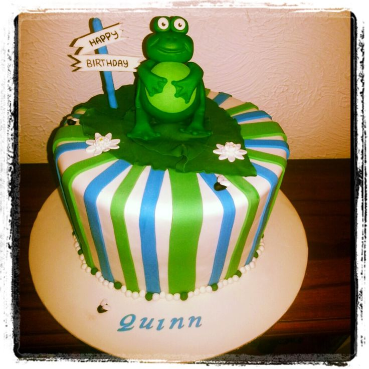 Frog on a lily pad cake. Boys first birthday