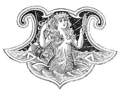 Click on images to enlarge I always like to follow a post that included a scary or creepy image (like yesterdays Winged Bats) with something pretty so, today I'm posting this beautiful Mermaid from an antique book (circa 1880s)! I know not everyone is into Halloween so, hopefully this will make up for it! XXXOOO