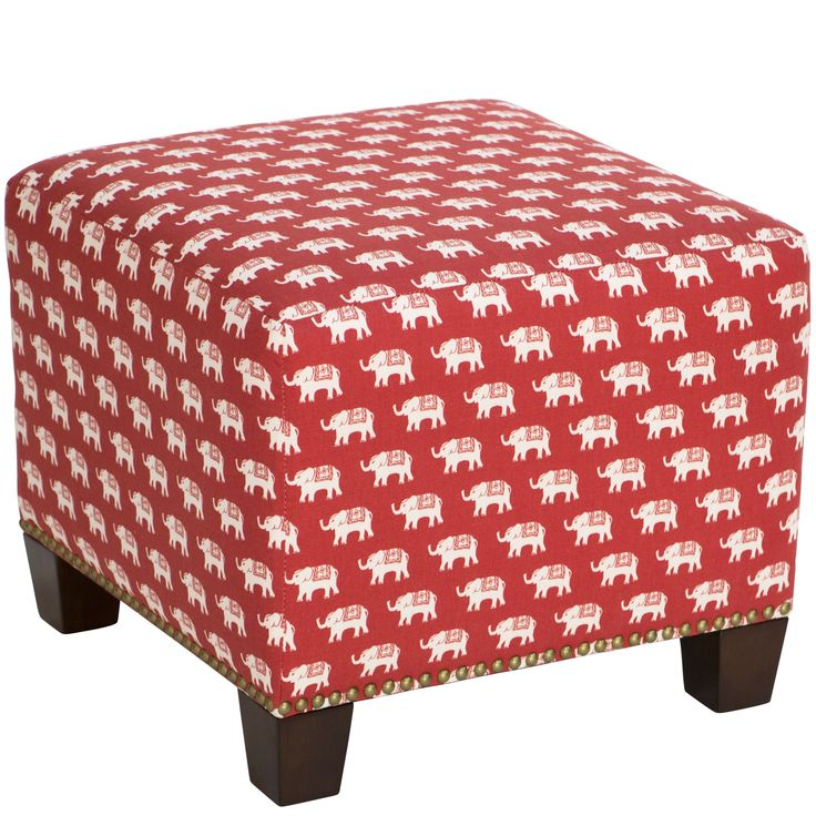 Skyline Furniture Modern Ottoman in Ellie Ketchup (Ellie Ketchup), Red (Fabric)