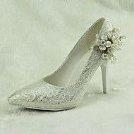 Dame+-+Pantofi+de+nunta+-+Tocuri+/+Vârf+Ascuțit+-+Pantofi+cu+Toc+-+Nuntă+/+Rochie+/+Party+&+Seară+-+Alb+–+EUR+€+79.36