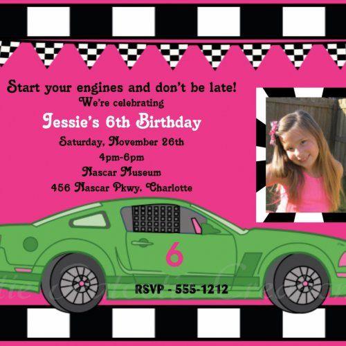 Girls Race Car Birthday Invitation RaceCar Birthday Party Invitatio...... | CutiePatootieCreations - Digital Art  on Art