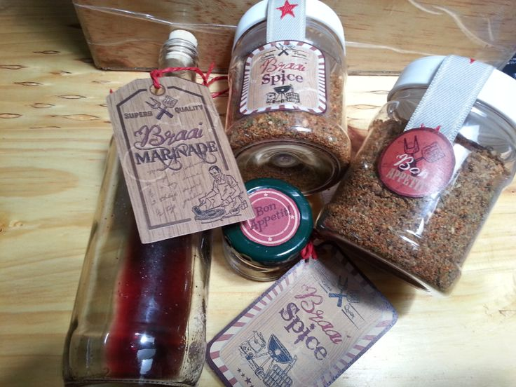 Creative food gifts, bespoke packaging for specially made marinade and braai-spice