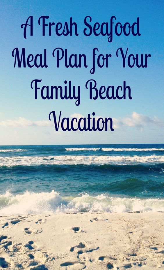 Here's a beach week fresh seafood meal plan filled with delicious, easy recipes & simple meal ideas for family beach vacations. #beach #BareFeetontheBeach