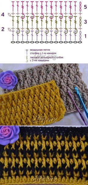 """Рельефный узор """"Кожа Дракона""""   Crochet by Ellej   Вязание крючком от Елены…"""