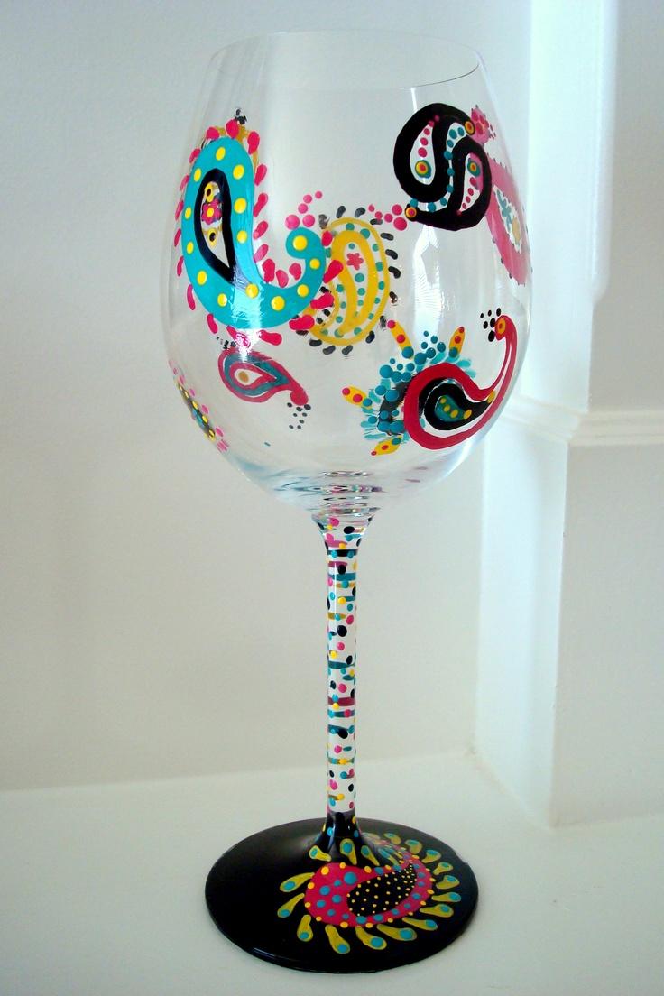 Paisley Print U003c3 Hand Painted Wine Glasses By Sips   Austin, ...