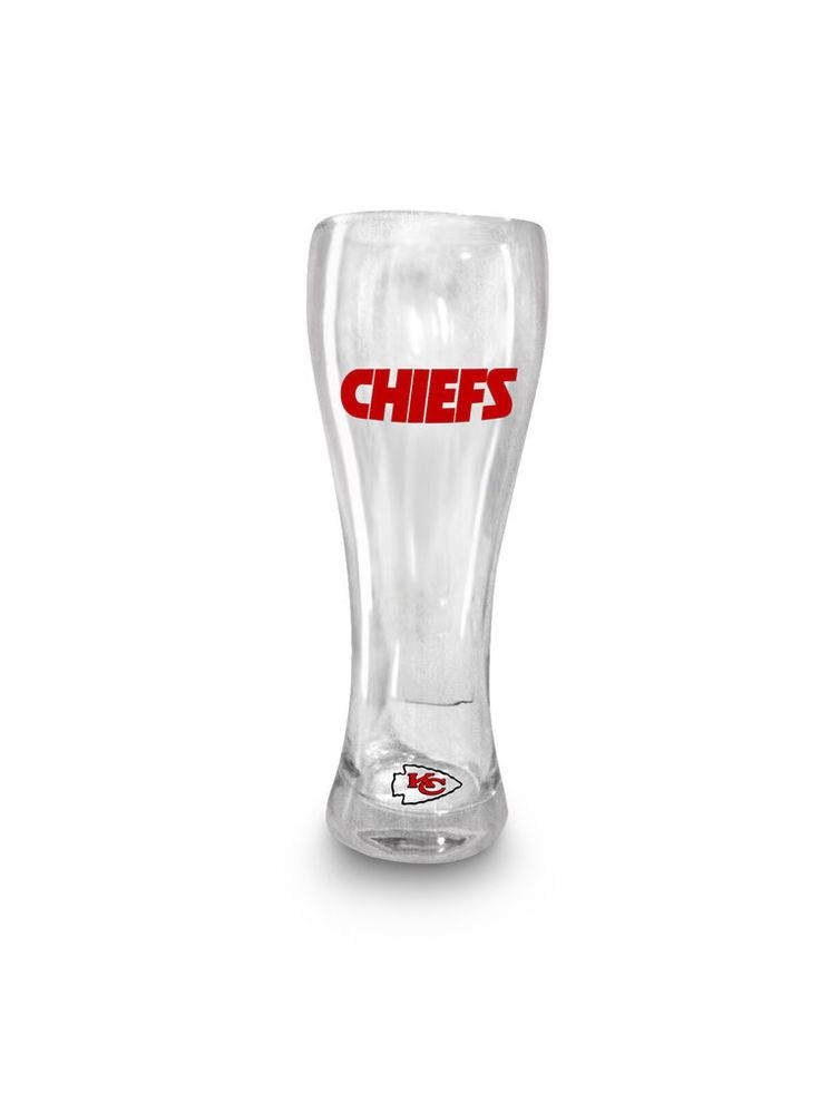 KANSAS CITY CHIEFS PILSNER GLASS ~ 21oz~ NFL CHIEFS BEER GLASS #Handmade