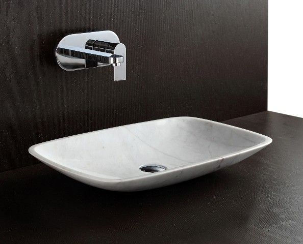 Shaan - Rectangular Above Counter Natural Stone Polished White Marble Basin Sink For Modern Luxury Bathrooms