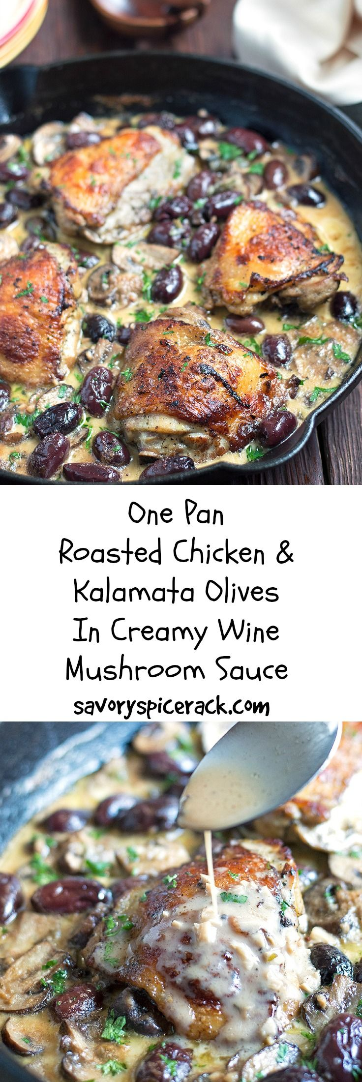 Marinated Roasted Chicken in a Wine Mushroom Cream Sauce Topped with Kalamata…