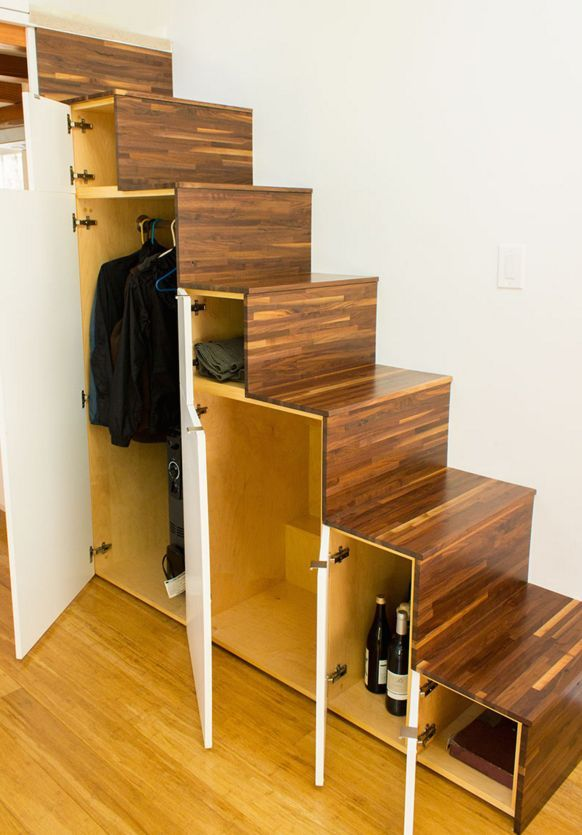 """A set of Japanese """"tansu"""" stairs add extra storage space."""