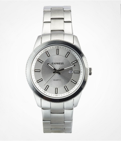 Express Mens Analog Bracelet Watch Silver