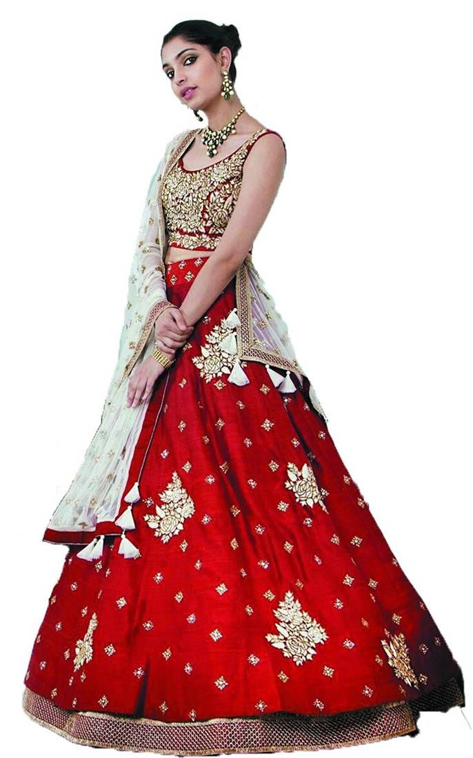 Designer Red Lehenga available at Mirraw.com