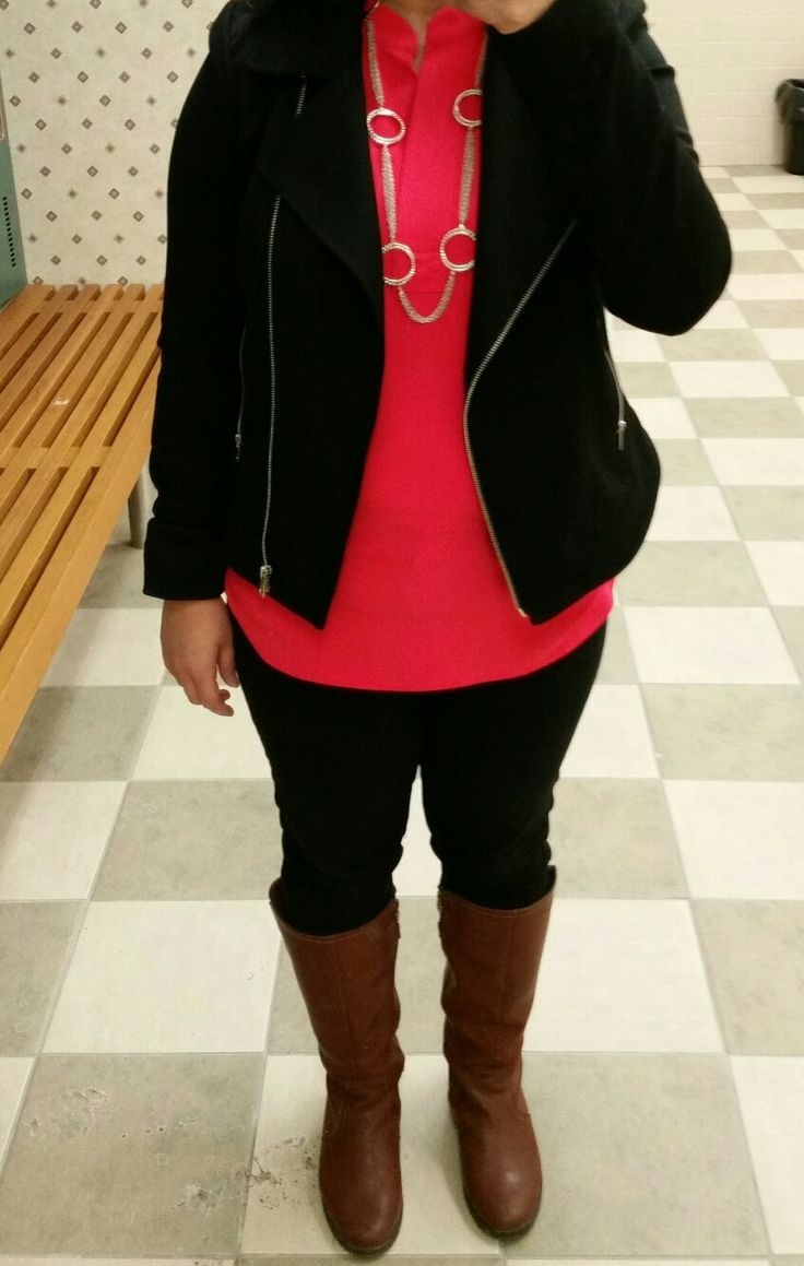 Coral blouse, knit moto blazer, brown boots #loverickis #springoutfit #spring2017