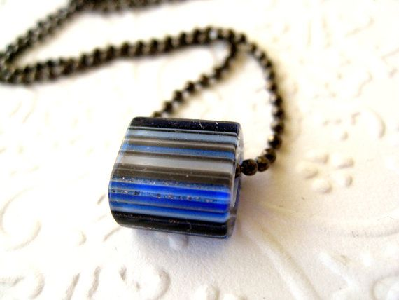 Cobalt blue necklace blue stripes cane glass layering by Vitrine.etsy.com