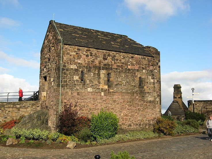 St Margarets Chapel - The oldest building in the Edinburgh Castle, and in Edinburgh. One of the few 12th-century structures surviving in any Scottish castle it dates to the reign of King David I (ruled 1124–1153), who built it as a private chapel for the royal family and dedicated it to his mother, Saint Margaret of Scotland, who died in the castle in 1093.  Saint Margaret was consort Queen to King Malcolm III of Scotland, generation 31 on our family tree.
