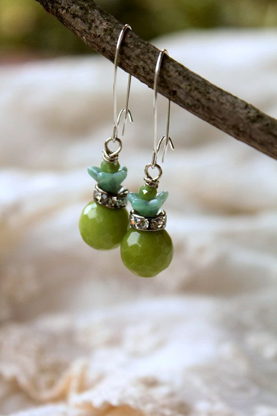 Olive Green Earrings Olive Green Wedding Green Flower by belmonili  @belmonili