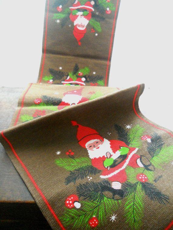 Vintage Swedish Christmas table runner by Buhler Scandinavian Table runner with Tomte elfs on Etsy, $15.00