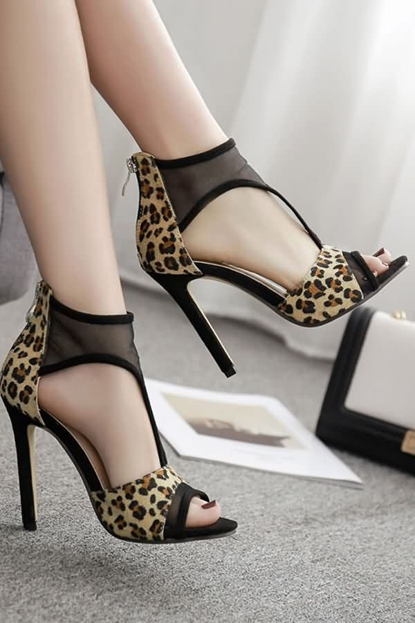 ed7d68f47b Leopard Mesh Peep Toe High Heel Sandals #053332 @ Fashion High Heels Shoes ,Cheap