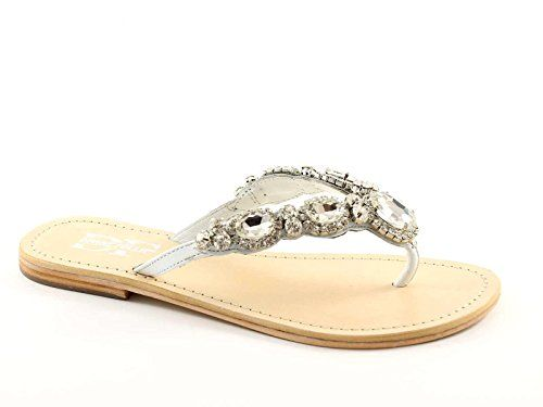 Divine Madness 14-14838 weißen Strass-Sandalen Pantoffeln Frau Leder - http://on-line-kaufen.de/divine-follie/divine-madness-14-14838-weissen-strass-sandalen