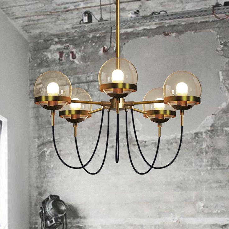 Винтаж Промышленных led подвесной светильник с 5 стеклянный шар, современный глобус привело подвесной светильник черный и золотой для столовой гостиной купить на AliExpress