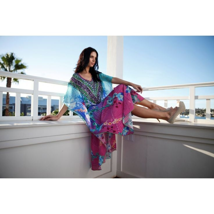 Island Life Long Silk Kaftan. Available online at bohochic.com.au or in store at Boho Chic Boutique 1/111 Lawrence Hargrave Dr, Stanwell Park NSW 2508. Ph: 0242943111