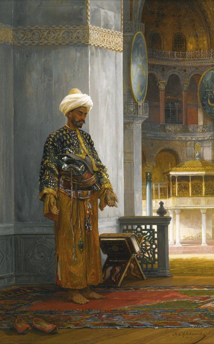 Ayasofya Camii'nde ibadetle iştigal eyleyen bir zat, 1879; Ressam Stanislaus von Chlebowski