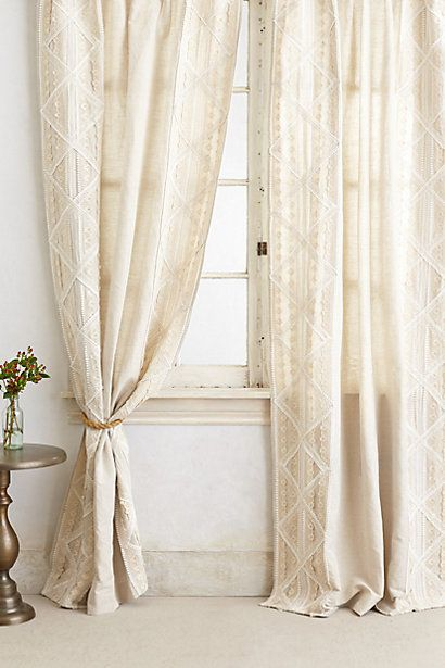 Appliqued Lace Curtain - so beautiful - want these for my bedroom #AnthropologieEU #PinToWin